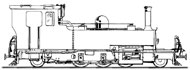 Line drawing of Manning Wardle 2-6-2 YEO the loco we plan to build to 15'' gauge
